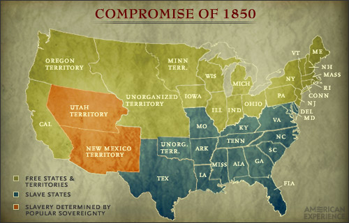 map of the compromise of 1850